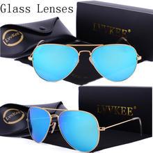 b28d3eaa85 De lujo de la Lente de Cristal piloto gafas de sol de las mujeres hombres  2019 gafas de sol de 58mm 3025 lentes de Color uv400 r.