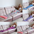 Mermaid Tail Fish Sofa Bed Warm Blanket Handmade Crocheted Knit Cashmere Yarn Knitted For TV Sofa Blanket Plus size 180*90cm