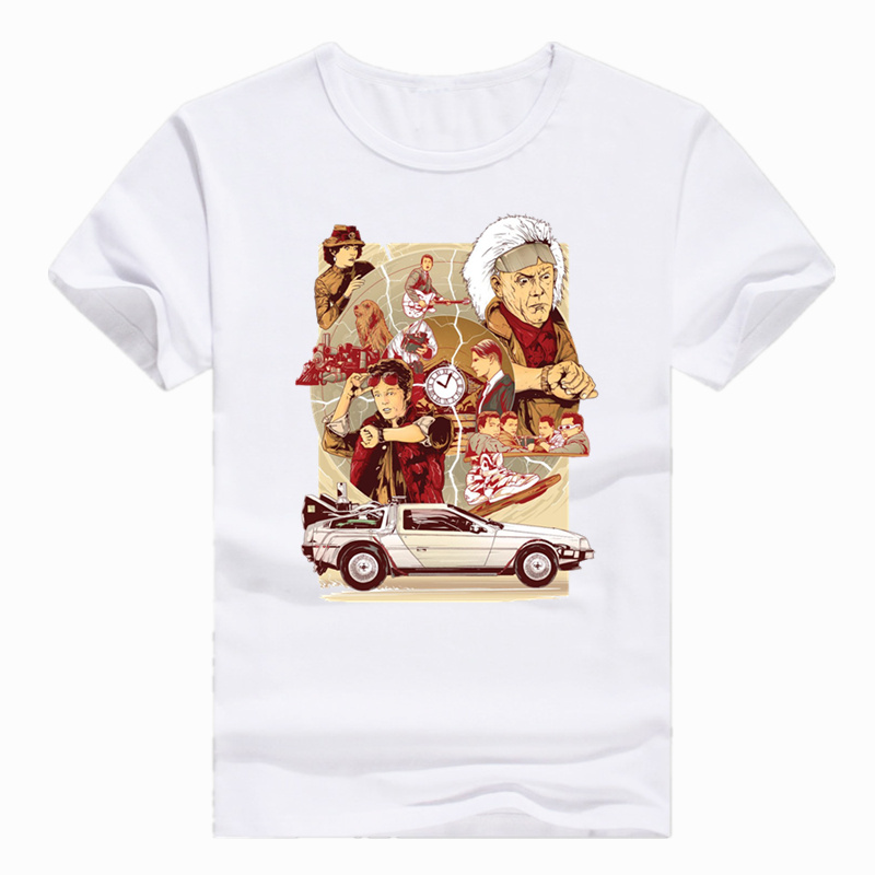 Asian Size Print Back to the Future Classic Movie Science   T  -  shirt   Summer Short sleeve O-Neck Tshirt For Men And Women HCP4426