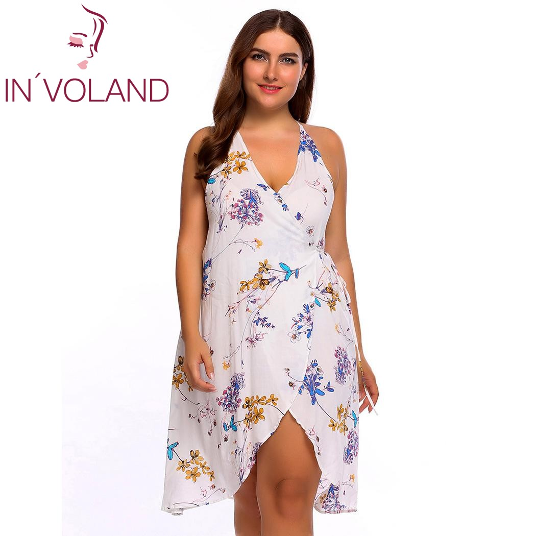 IN'VOLAND Femmes Parti Robe Plus Taille L-4XL Sexy Spaghetti Strap Manches Floral Avant Croix Wrap Robes Robes Grande Taille