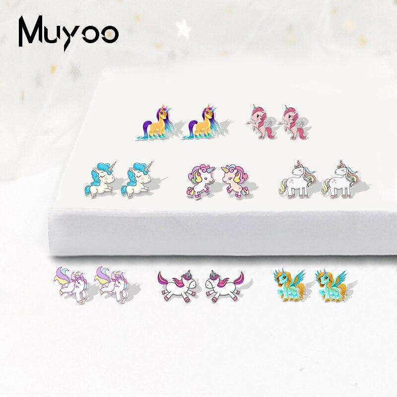 2019 New Arrival Rainbow Unicorn My Little Horse Pegasus Shrinky Dinks Earrings Hand Craft Acrylic Earrings For Girls Epoxy