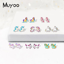 2019 New Arrival Rainbow Unicorn My Little Horse Pegasus Shrinky Dinks Earrings Hand Craft Acrylic Earrings for Girls Epoxy(China)