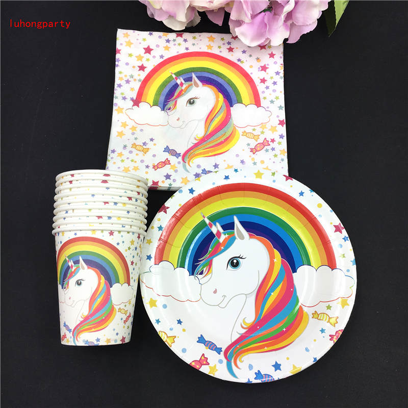 Unicorn theme 20pcs paper cups 20pcs plates 20pcs Napkins for Children Kids Birthday Party Decoration in Disposable Party Tableware from Home Garden