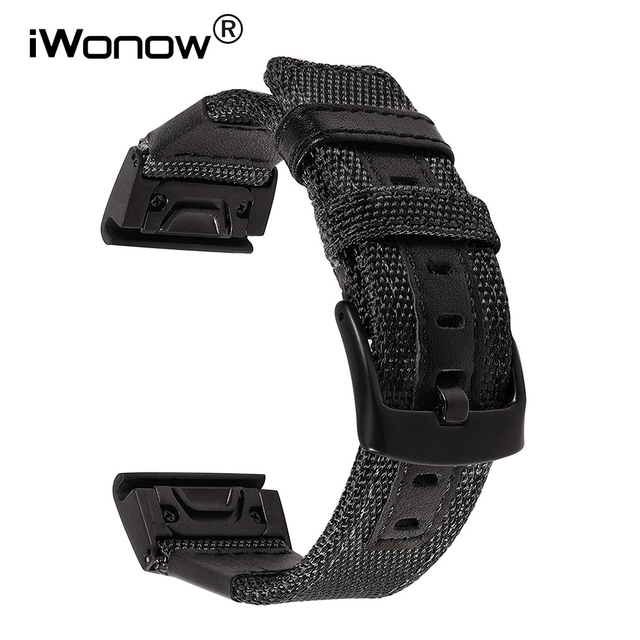 26mm Genuine Nylon + Leather Watchband for Garmin Fenix 5X / 3 / 3HR Quick Easy