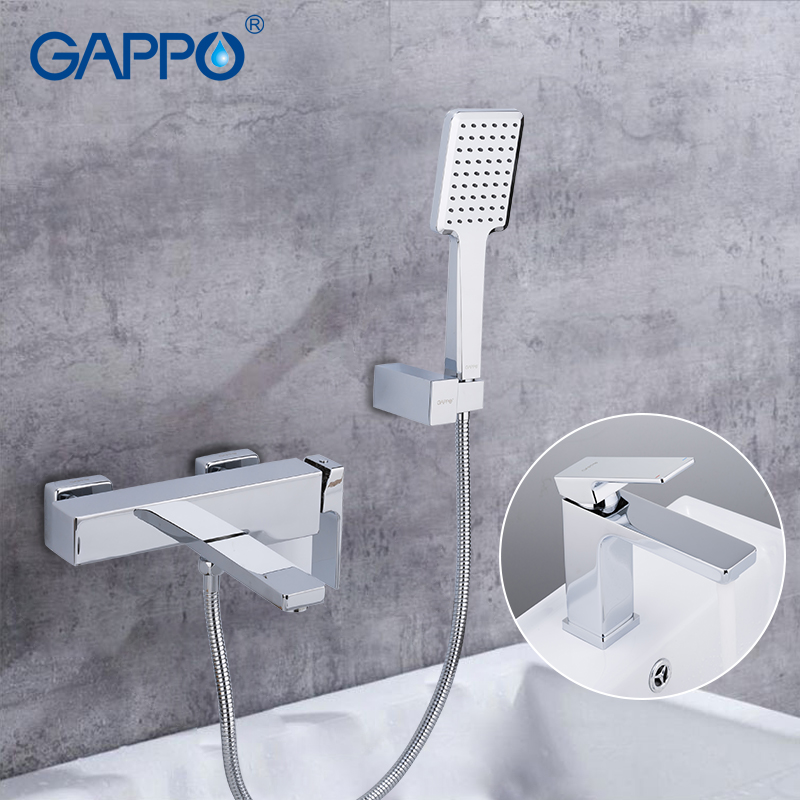GAPPO Sanitary Ware Suite brass water tap chrome bathroom bath faucet mixer bathtub tap with basin faucet torneira para banheira