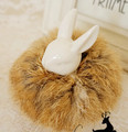 H1501052-Fashion women girl hairwear, natural color  Real Genuine rabbit Fur Hair Band Tail Accessories ,