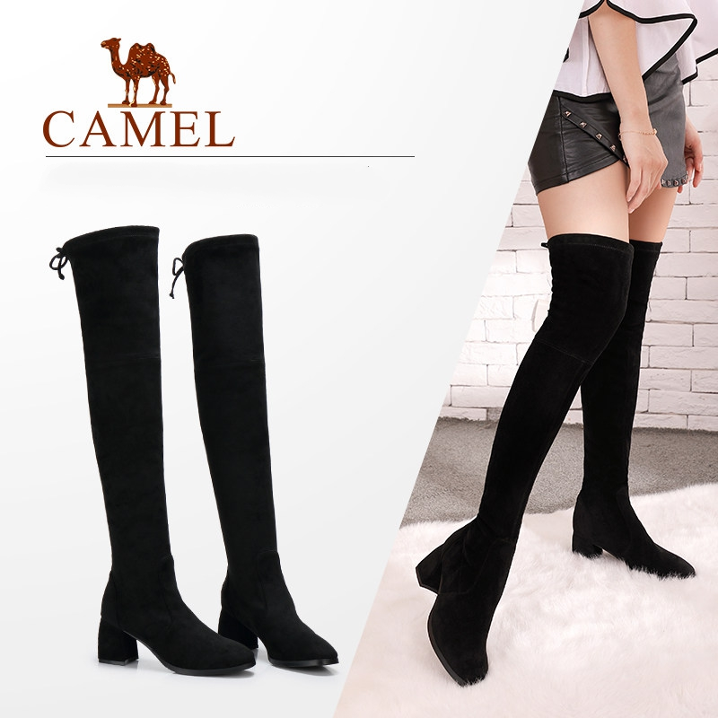 CAMEL Ladies Shoes High Heel Fashion Winter Warm Thigh High Boots Over The Knee Boots Woman Suede Boots Round Toe Shoes Woman camel camel boots cowhide thick heel rivet velvet fashion pointed toe boots vintage casual thermal boots