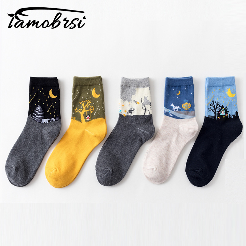 2018 Halloween Moon Tree Meteor Cabin Kawaii Women's Casual Socks Sweet Cute Women Socks Lady Autumn Winter Cotton Socks Female