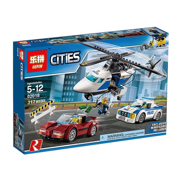 Lepin 02018 City Series Police military SWAT The High-speed Chasing Helicopter Set children Blocks Bricks Toys With 60138 lepin 02025 city the high speed racer transporter 60151 building blocks policeman toys for children compatible with lego