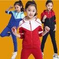 Terno dos esportes meninos e meninas das crianças varejo 3-15 anos de idade crianças grandes virgens terno uniformes Primavera roupas Casaco + Calças 2