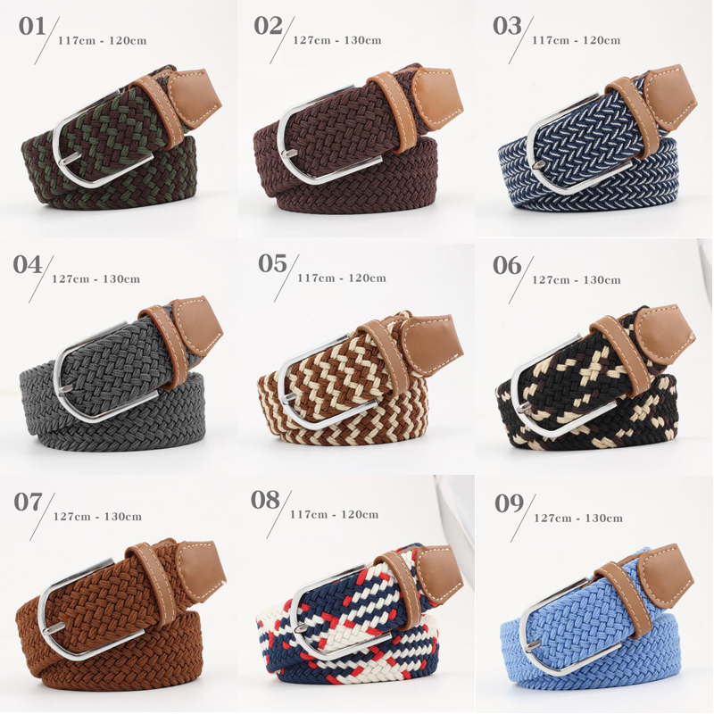 New Elastic Braided Elastic Belt Men's And Women's Belt Pin Buckle Belt