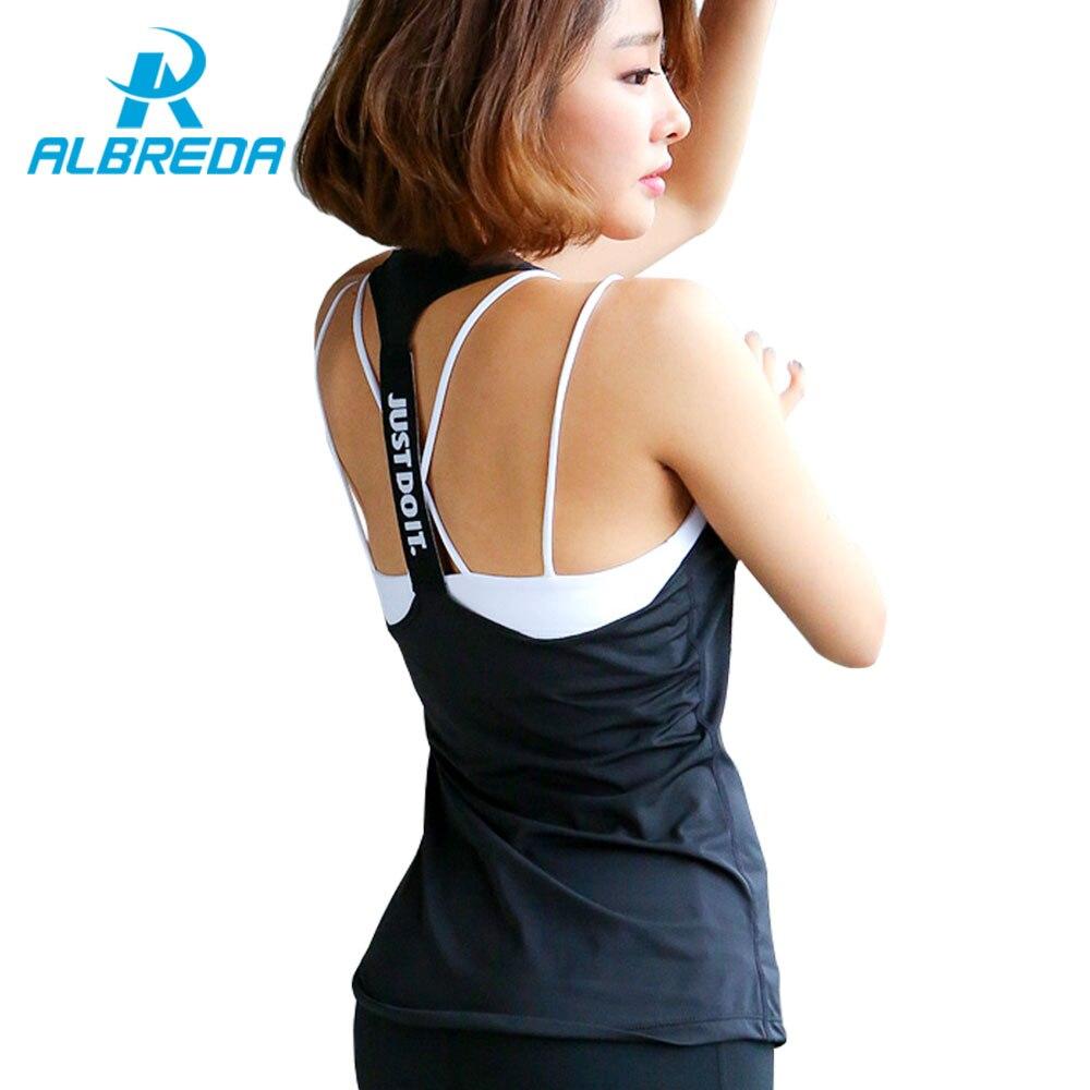 ALBREDA 6 colors Women Professional yoga sport vest sleeveless Quick Drying Fitness Running Tank Top Gym Yoga shirt fitness Vest