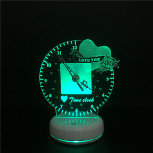 Image 2 - Time Clock Led Night Light Lamp Remote And Touch Switch Control 7 Colors Changeable Desk Light lampe Home Decorations Lighting