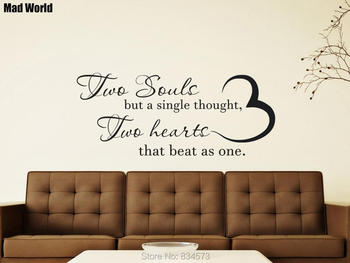 Two Souls But a Single Thought Hearts Beat As One Wall Art Sticker Wall Decals Home DIY Decoration Removable Decor Wall Stickers
