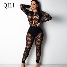 QILI Women Black Lace Jumpsuits Sexy See Through Hollow Out Long Sleeve Skinny Jumpsuit Party Club Romper Womens Mesh