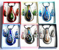Мода Murano Lampwork стекло ювелирный гарнитур форма листа ожерелье серьги комплект Box упаковка # W14557