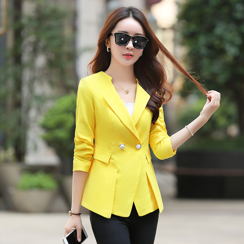 2017 damas amarillo blazer femenino formal chaqueta Blaser negro Rosa  mujeres azules mujeres Oficina Ropa de alta calidad en Chaquetas y  americanas de La ... 8e84ddf23544