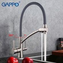 GAPPO 1 satz spüle wasserhahn torneira Kalt-und Warmwasser Mixer Edelstahl Kran Doppelgriff 360 Freie Rotation G4398