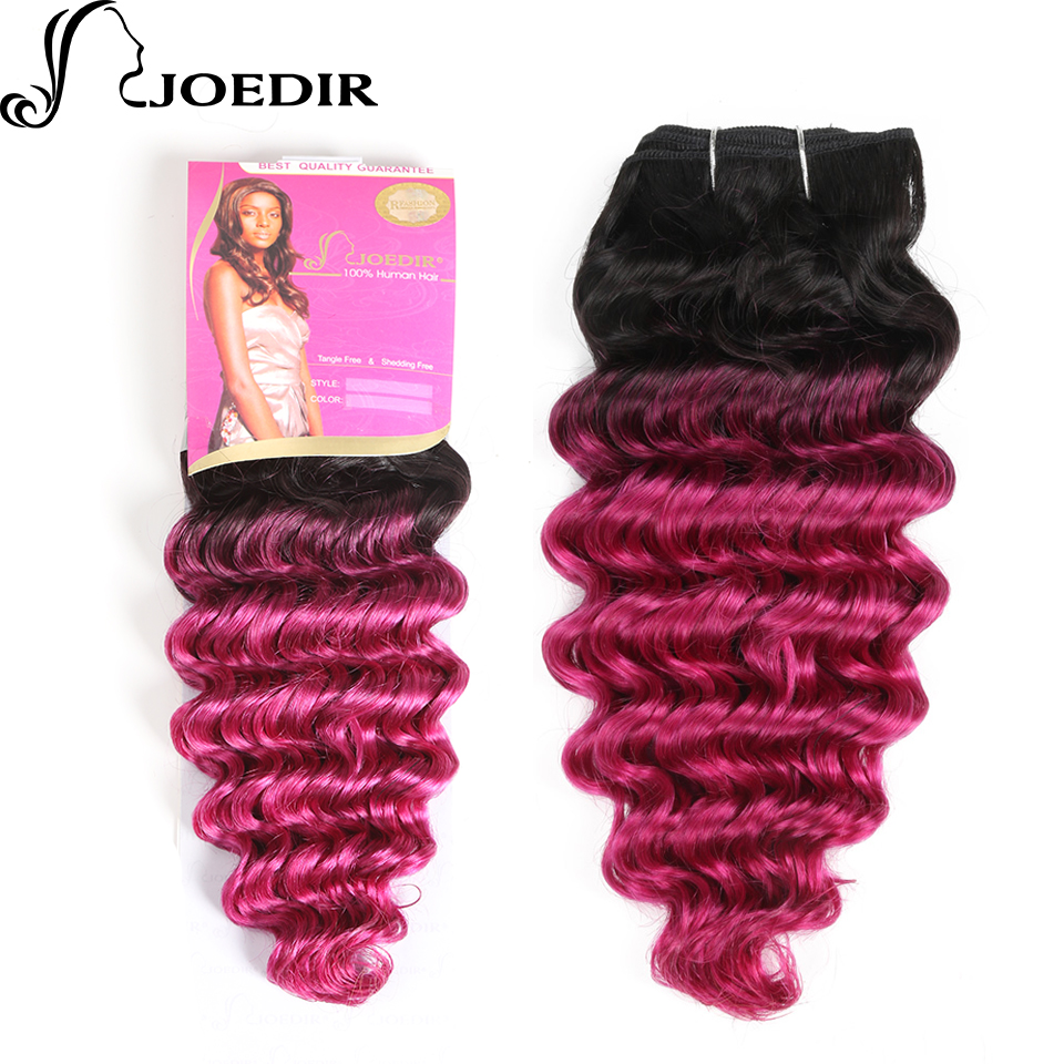 Joedir Pre-Colored Ombre Pink Human Hair Bundles 1 PC Indian Deep Wave Hair Weave Bundles T1bPink Hair Extensions 100g Hair Weft