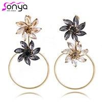 Big Circle Dangle Earrings For Women Gray Brown Rhinestone Flowers Ear Jewelry 4C1008