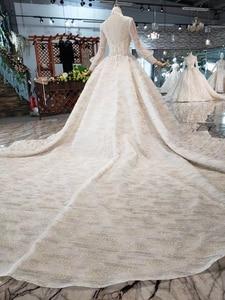 Image 2 - HTL315 高級ウェディングドレス高品質手作りビーズクリスタルブライダルドレスガール高ネック長袖sukienka elegancka