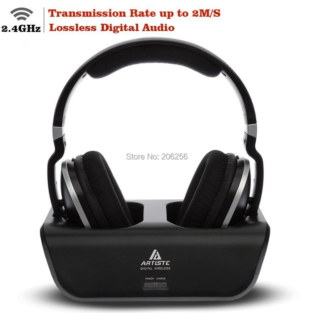 Wireless TV Headphones Artiste ADH300 2 4GHz Digital Over Ear Stereo Headphone for TV 100ft Distance