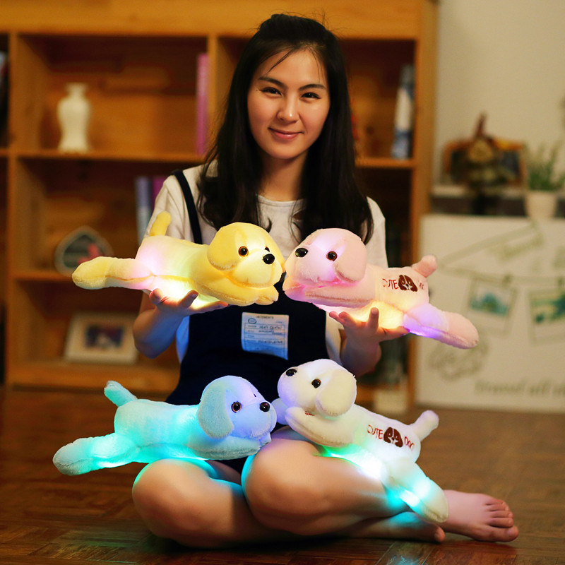 1pc 35cm luminous dog plush doll colorful LED glowing dogs children toys for girl kidz birthday