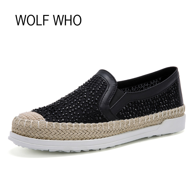 WOLF WHO Summer Canvas Espadrilles Women Moccasins Female Loafers Flats Shoes Ladies Slipony Slip on Krasovki Footwear H-062 women s genuine leather slip on loafers brand designer flats moccasins leisure espadrilles antiskid comfortable shoes for women