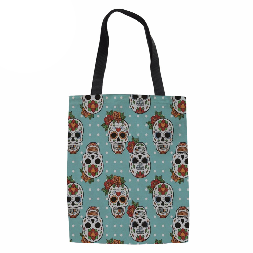 NoisydesignsFunny Design Skull Print Shopping Tote Bags Women Fashion Coth Bag Ladies Reusable Eco Bag for Females Daliy Package