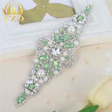 (30pieces)Handmade Hot Fix Crystal Sew On Pearls Green Opal Bridal Sliver  Emerald Rhinestone ed8c1e495a18