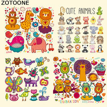 ZOTOONE Cute Cartoon Animal Iron on Heat Transfer Patches for Kid Clothing Butterfly DIY Stripes Applique T-shirt Custom Sticker