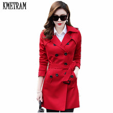 KMETRAM 2020 New Spring Autumn Overcoats Women's Trench Coats Long Sleeve Turn-D