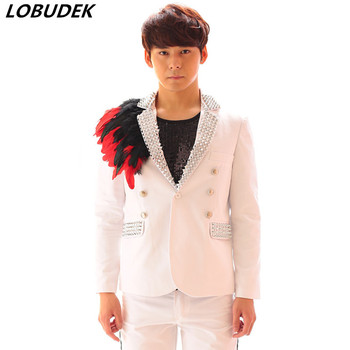 Tide Male Suits Hip-hop Performance Outfits Fashion Feathers Rivet Jacket Blazers Two Piece sets Bar Punk Singer Stage Costumes