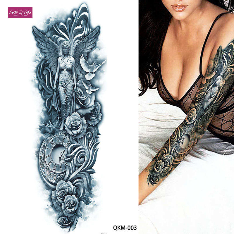 Us 1 69 1pcs Big Large Athena Ancient Greek Mythology Temporary Tattoos Full Arm Leg Waist Art Tattoo Beauty Warrior Sticker In Temporary Tattoos