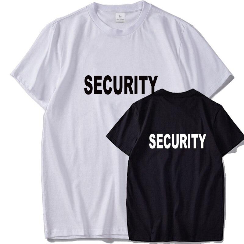 EU Size   T     shirt   Security 100% Cotton O-Neck Cool Tee Tops Men Short Sleeved Back   T  -  shirt   Street Style Drop Ship