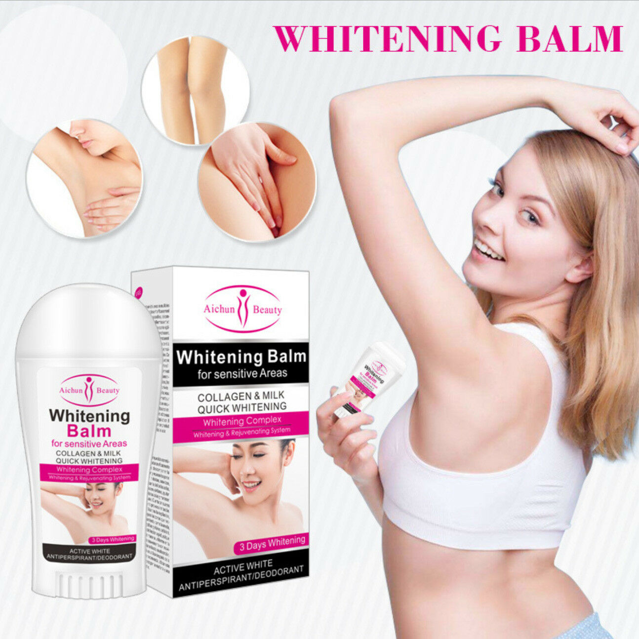 Aichun Beauty Whitening Balm For Sensitive Areas Collagen Milk Quick System Skin Antiperspirants