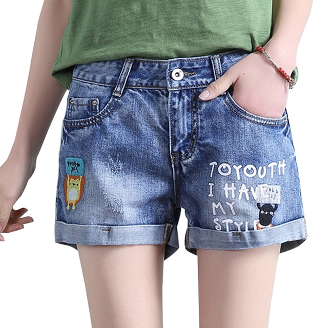 bf65704fcd208 New summer embroidery denim shorts women Casual letter printed jeans shorts  femme Pocket decorate Plus size M571