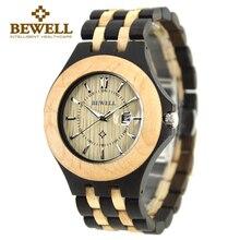 Новый Bewell бренд часы Деревянный Человек Календарь Водонепроницаемый сандалового дерева часы и кварца Япония Дерево наручные часы с коробкой 080A