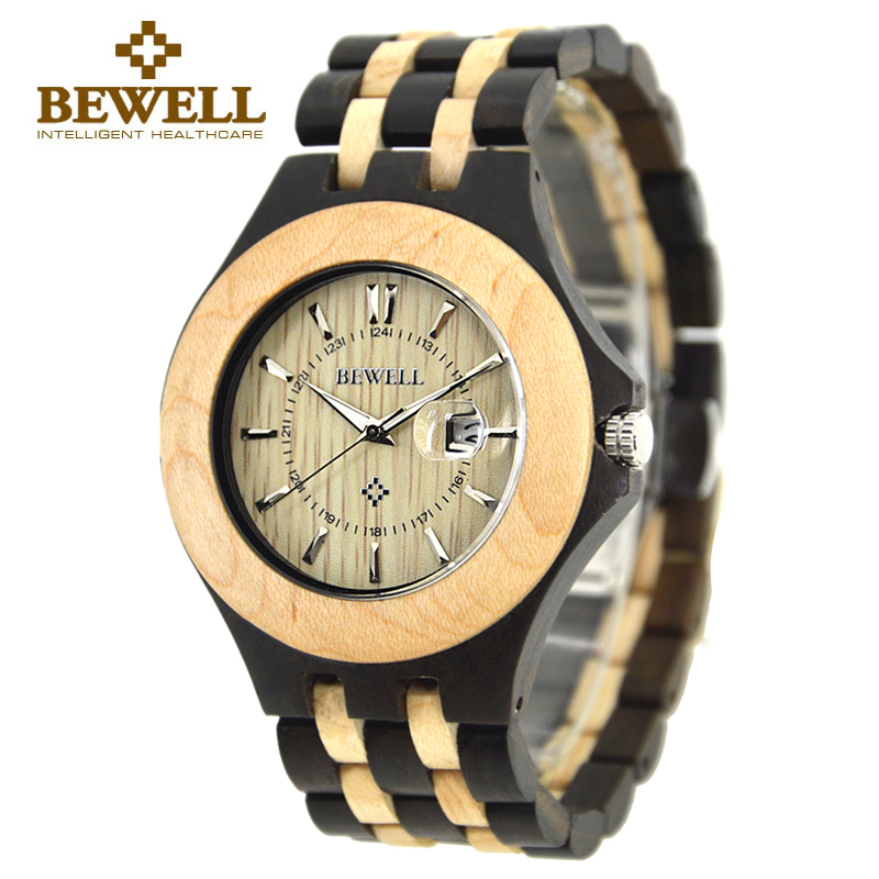 New BEWELL Brand Wooden Men Watches Calendar Waterproof Sandalwood Watch Two-Tone Japan Quartz Wood Wristwatch with Box 080A bewell natural wood watch men quartz watches dual time zone wooden wristwatch rectangle dial relogio led digital watch box 021c