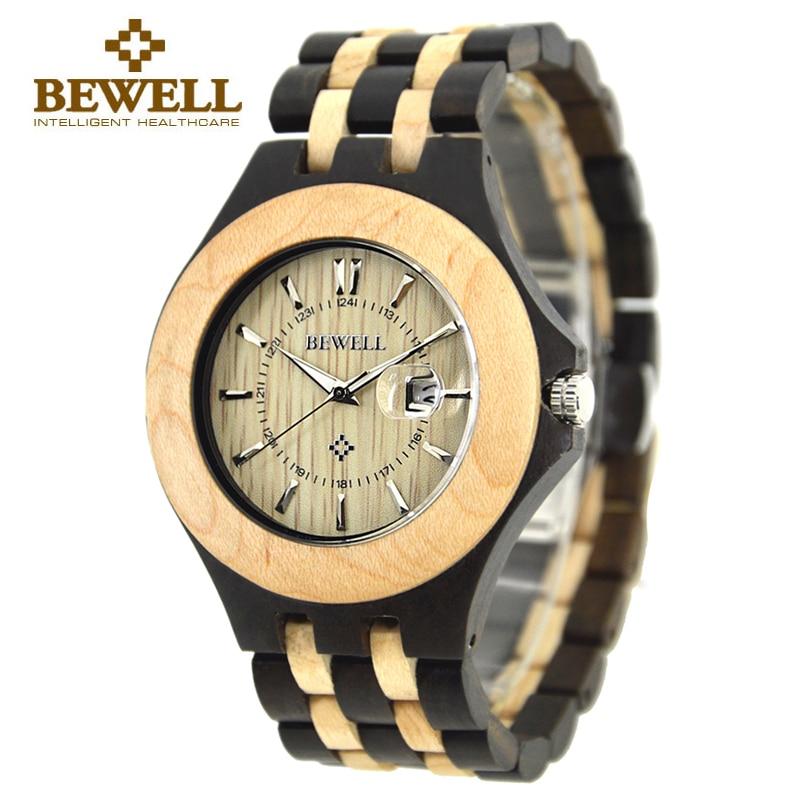 Nouveau BEWELL marque en bois hommes montres calendrier étanche en bois de santal montre deux tons japon Quartz bois montre-bracelet avec boîte 080A