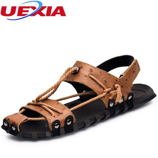 7004e00d60440 Marque Top En Cuir Sandales Homme De Mode D été Chaussures De Paille  Semelle Plage