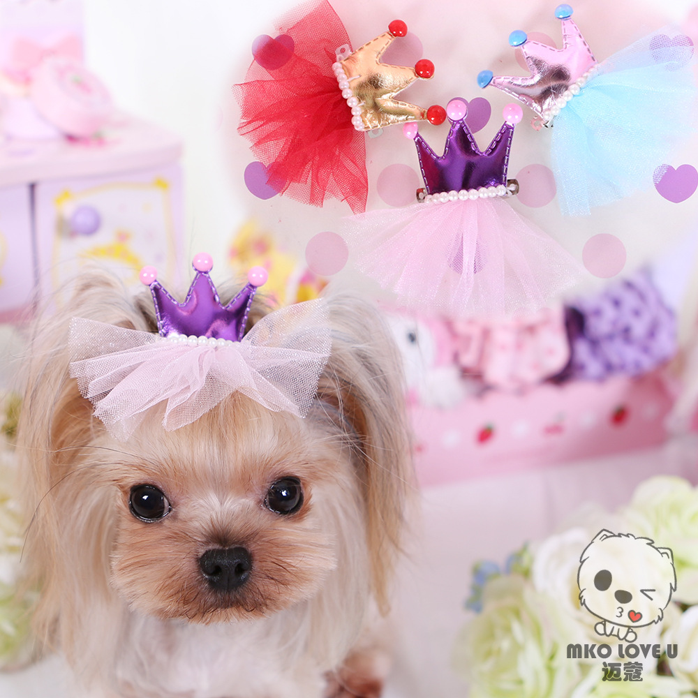 Dog Accessories Crown Hair Bows Colorful Small Hairpin ...