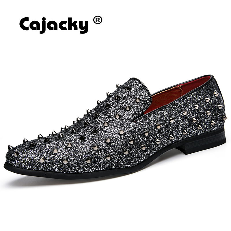 factory authentic 58f90 ee030 Best Price Cajacky Men Rivet Loafers Pointed Toe Dress Shoes ...
