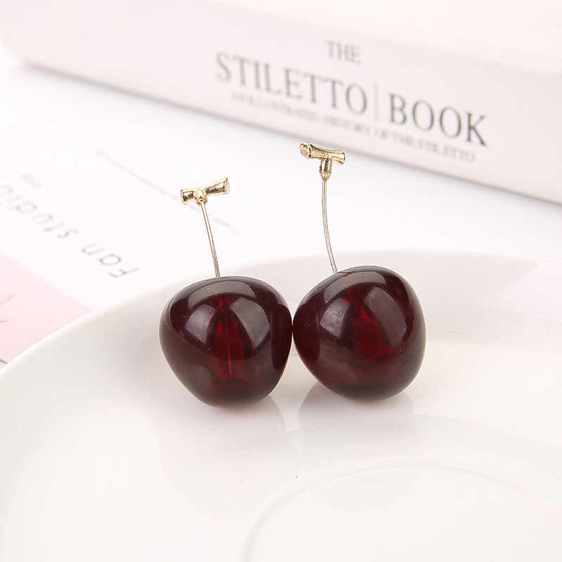 Hot New Cute Red Resin Cherry Fruit Shaped Pendant Drop Earrings Bohemian Earrings For Women Girls Fashion Jewelry Gift