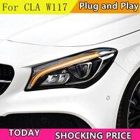 Автомобильный Стайлинг фара для Mercedes Benz CLA 17 18 светодиодный Автомобильные фары Angel eyes светодиодный LED KIT протовотуманная подсветка дневные х