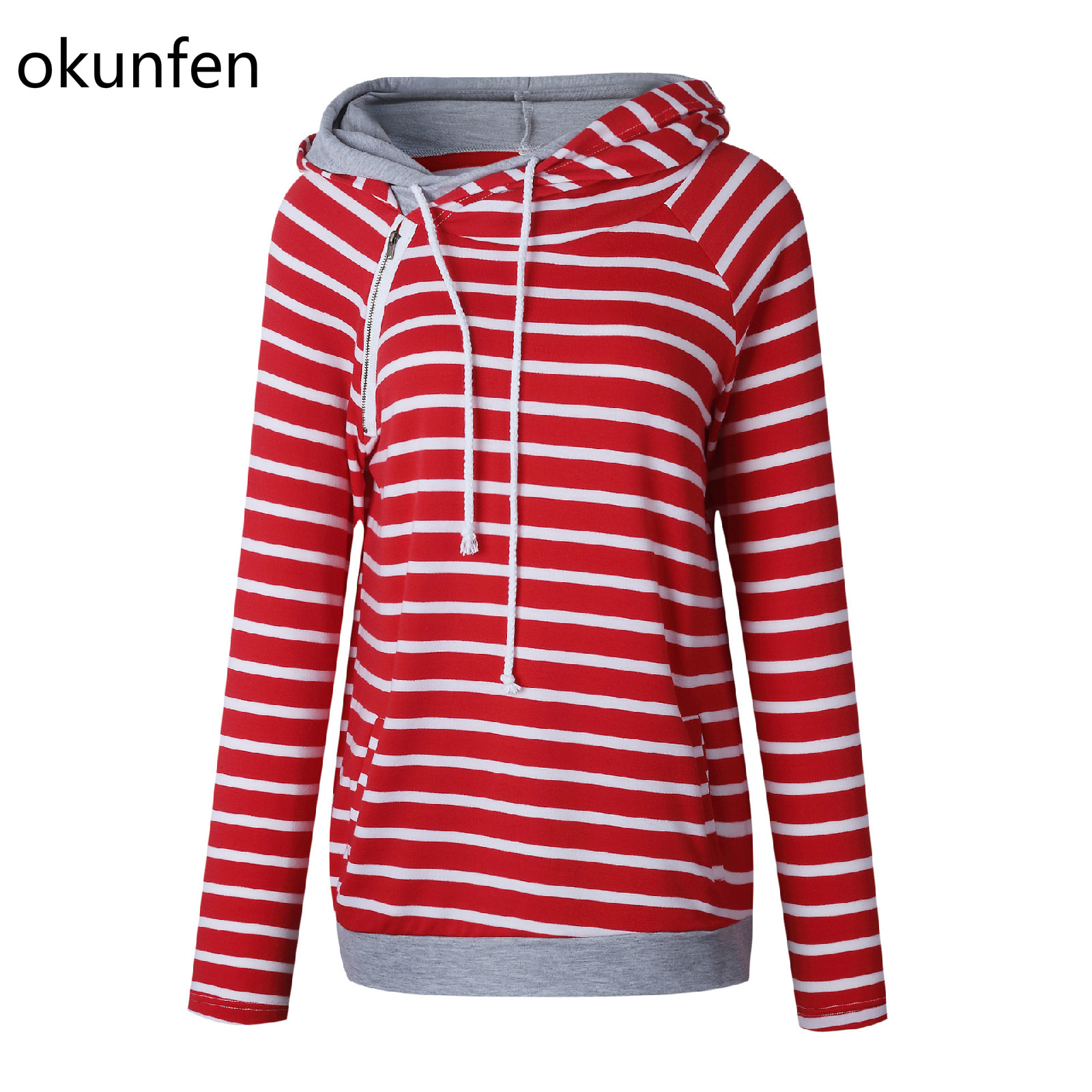Okunfen Autumn Striped Maternity Top Fashion Pregnancy Clothes for Pregnant Women Maternity Hoodie Sweater стоимость