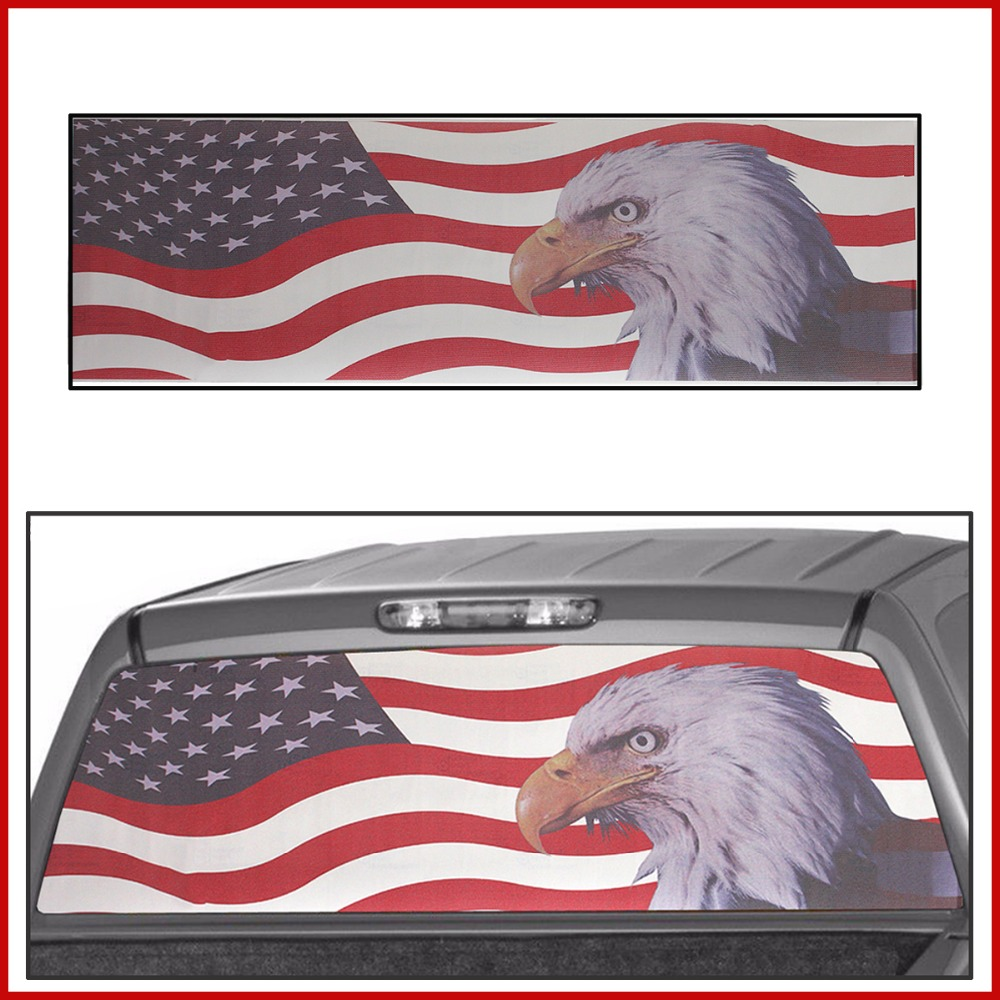 US EAGLE Flag Banner Rear Wind ow Graphic Decal Tint Sticker Truck Car Sticker Car Back Decal Vinyl With Squeegee and Razor hot sale 1pc longhorn hilux 900mm graphic vinyl sticker for toyota hilux decals badges detailing sticker car styling accessories