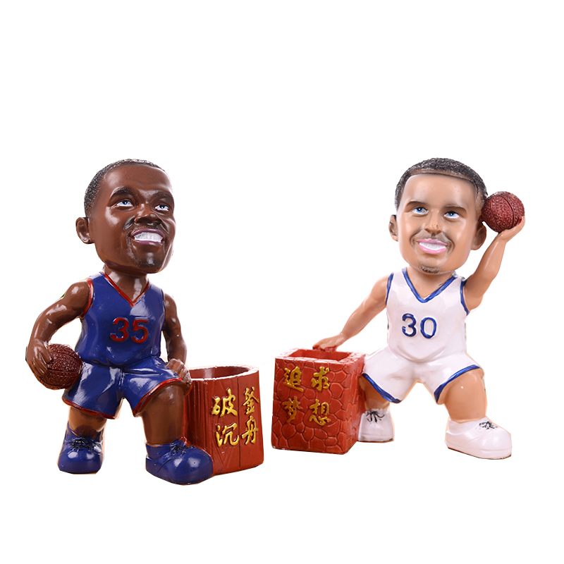 Creative NBA Star Pen Holder Student Pen Insert Cute Basketball Star Miniature Decoration Resin Crafts Ornaments Send Boys Gifts