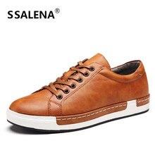 Men Vulcanize Shoes Lace Up Soft Leather Luxury Footwear Classic Men Spring Autumn Breathable Shoes Size EU 38-46 AA50107