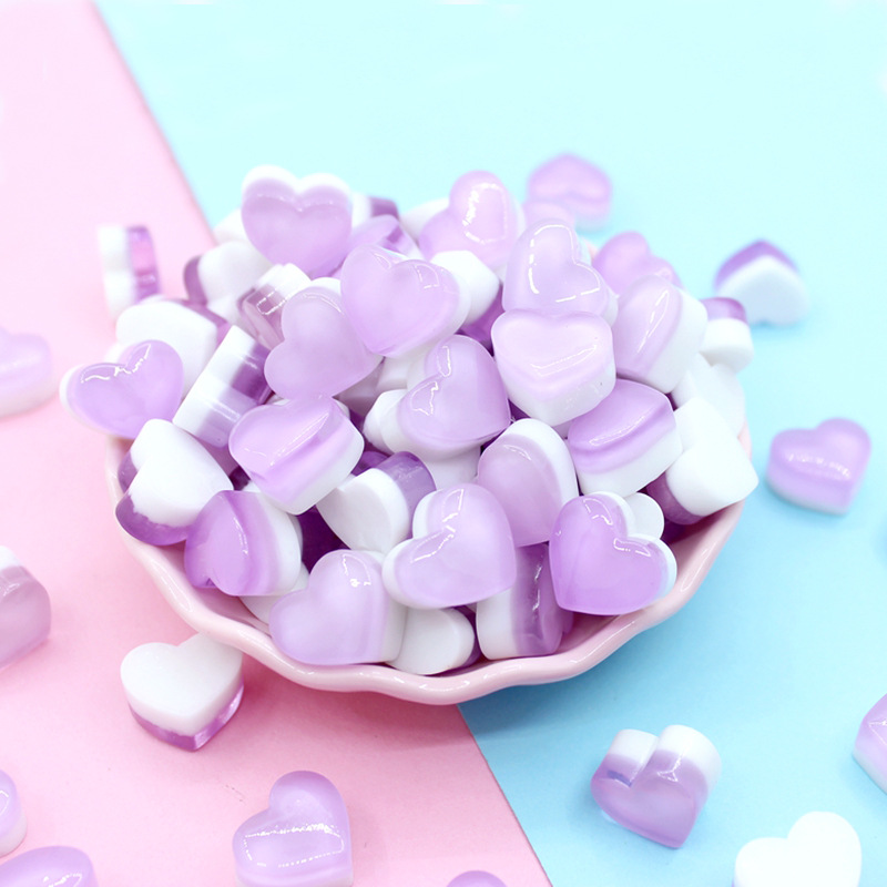 Happy Monkey 10/20pcs/pack Slime Additives Charms Resin Hearts Candy DIY Kit Slime Filler For Fluffy Clear Crystal Slime